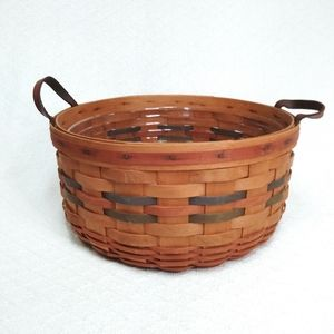 Longaberger Basket Handwoven w/ Leather Handles